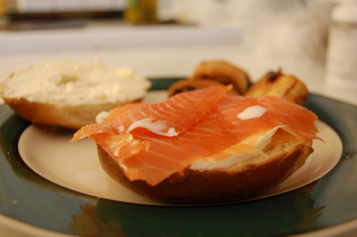 Bagels with cream cheese and lox are a great way to end the fast of Yom Kippur.