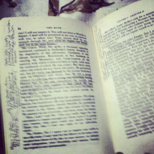 Book notes (in M.G. Lewis' The Monk)