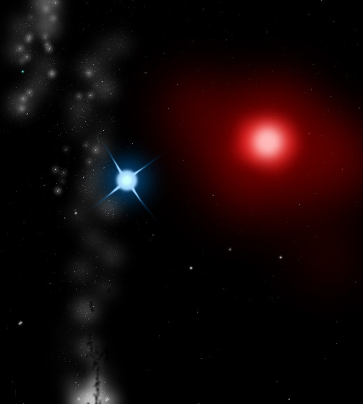 Antares A; an LC type variable red giant star, and Antares B, a class B2.5V blue main sequence star, make up a binary star system in the Scorpius constellation.
