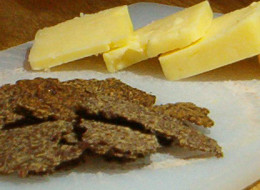 Flaxseed crackers and cheddar cheese slices