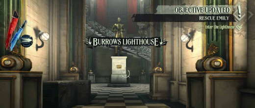 Dishonored enter Burrows Lighthouse from Kingsparrow Isle and Fort