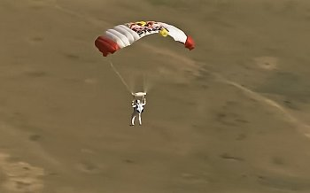 Red Bull Stratos Sky Dive, Oct. 14, 2012 - Screenshoots of Felix Baumgartner parashuting. (Source: Corbis Image, Credit: Vedat Xhymshiti)