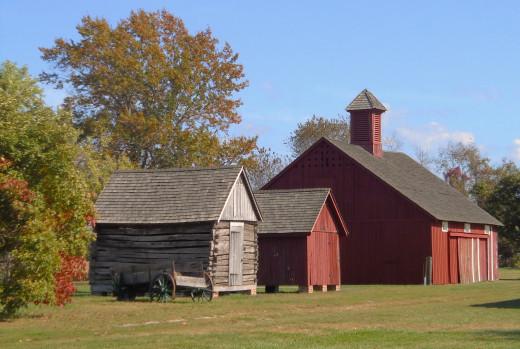 Close up of corn-cribs and barn.