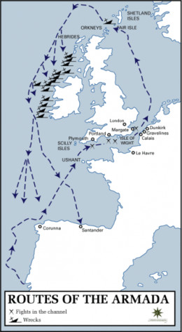 A map showing the route undertaken by the Spanish Armada.