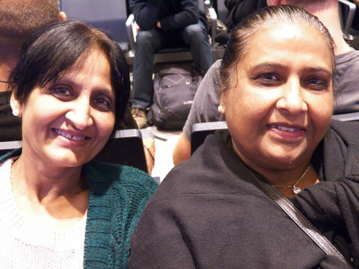 Anju and Sushila, two lovely new friends I made at Abu Dhabi airport.