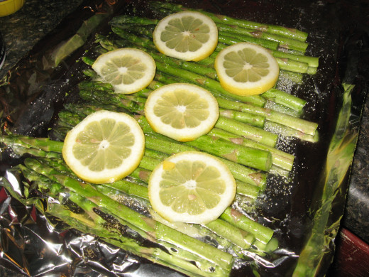 Top with lemon slices.