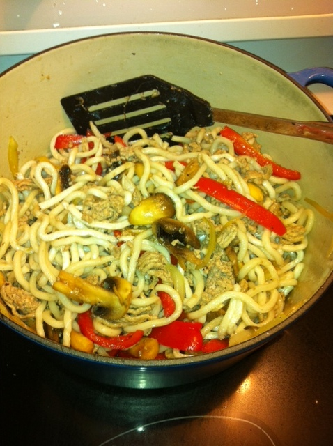 Break noodles up with hands, and stir in pot.  Add Sauce and stir.