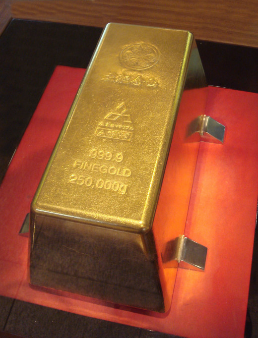 The largest gold bar in the world, weighing in at a staggering 250kg. Gold is an element - each atom in this bar will have the same number of protons (79) giving each atom identical properties.