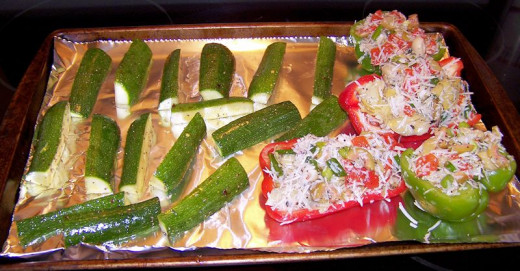 Stuffed bell peppers ready to bake