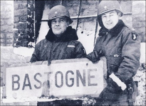 Brigadier General Anthony C. McAuliffe, left, and then-Col. Harry W.O. Kinnard II at Bastogne, after victory battle.