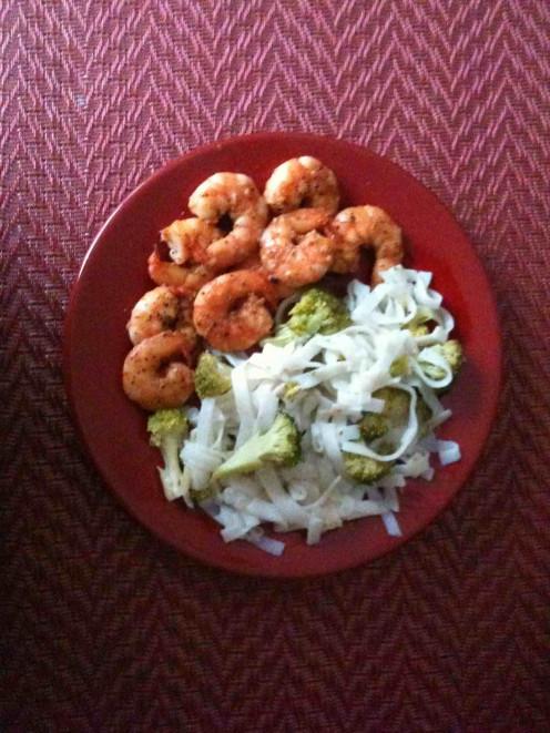 shrimp teriyaki with Chinese noodles and broccoli