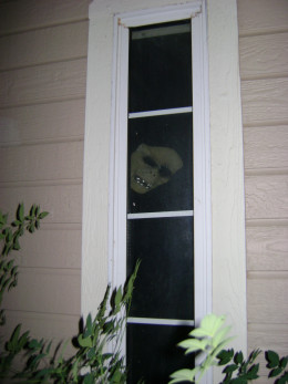 glowing mask hanging in a window 2010