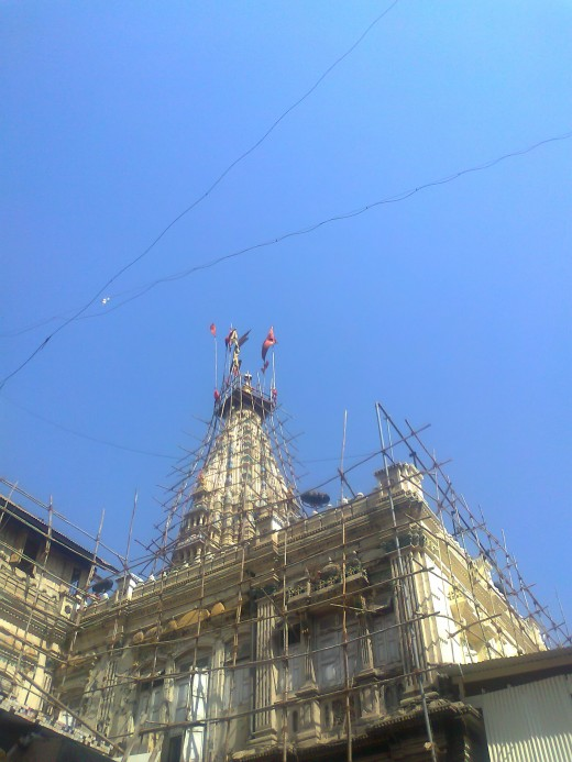 The Shikara Of the temple. Restoration work in progress in 2011.