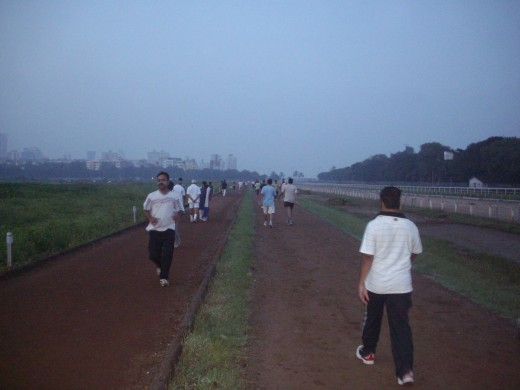 Early morning walkers and joggers