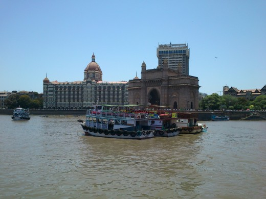 A view of The Taj Mahal Hotel and The Gateway Of India from the sea