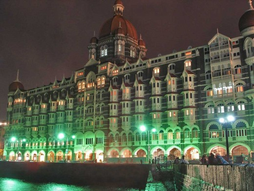 The Taj Mahal Hotel at night