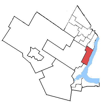 Map location of Oakville Riding, Ontario