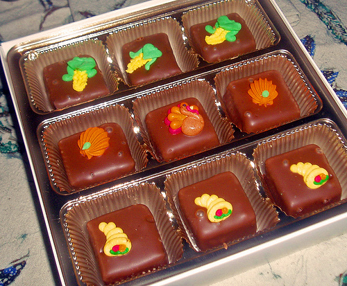 Candies with Thanksgiving decorations