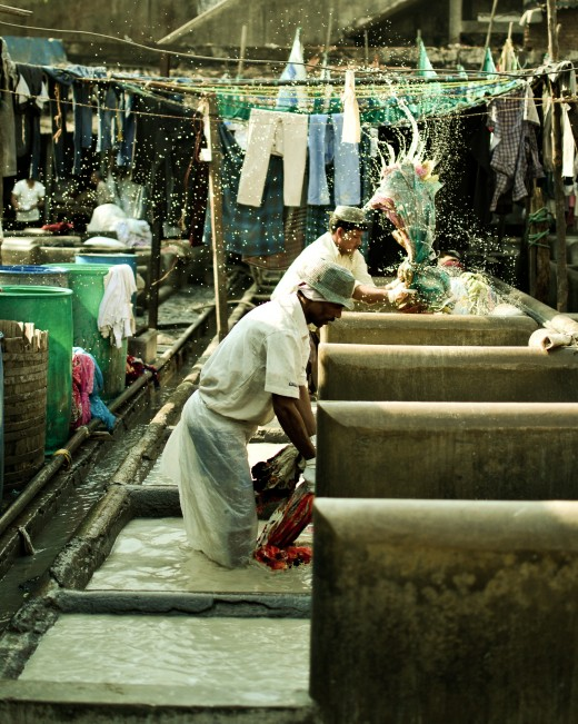 Dhobis(washermen) washing clothes