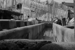 Huge washing ground and clothes being dried at dhobi ghat