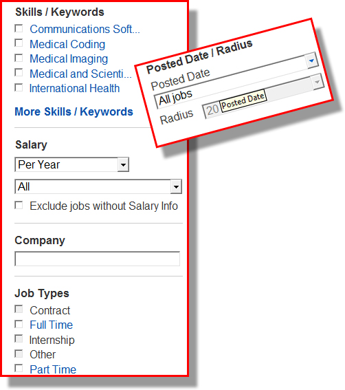 Extra Job Search Field Filters