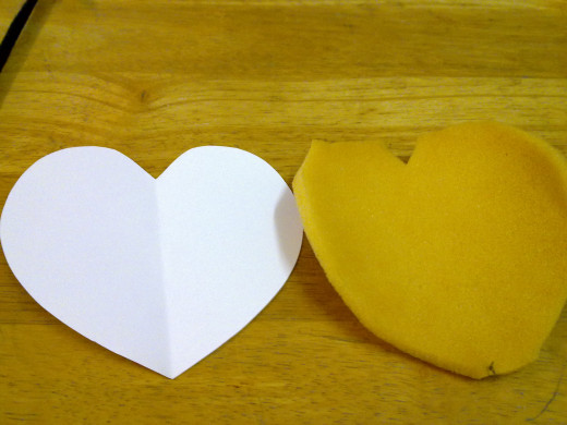 cut out heart shape paper and the heart shape sponge