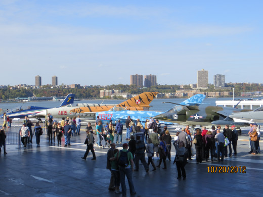 A view of some of the two dozen planes on the deck of the Intrepid