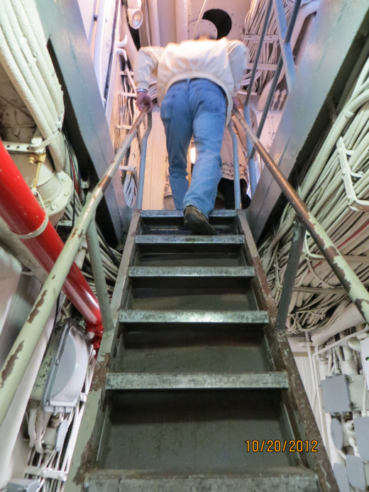 Traveling up one of the stairways inside