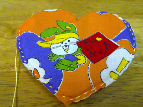 Already filled in sponge and sewn completed Heart Shaped Pot Holder