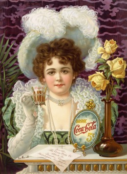 An 1890s advertisement showing model Hilda Clark in formal 19th century attire. The ad is titled Drink Coca-Cola 5¢. (US