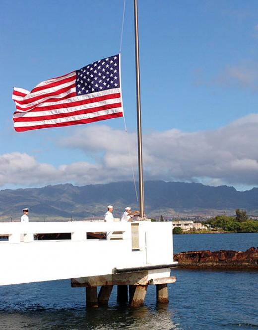 The flag at half staff at the USS Utah Memorial.
