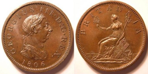 1806 King George III penny in good condition