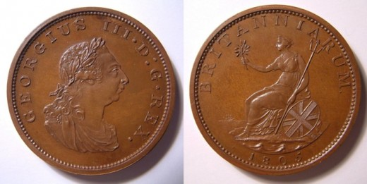 1905 King George III pattern penny