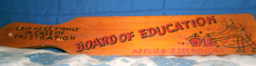This wooden paddle has hung on our wall for years, but it was never used on the children.