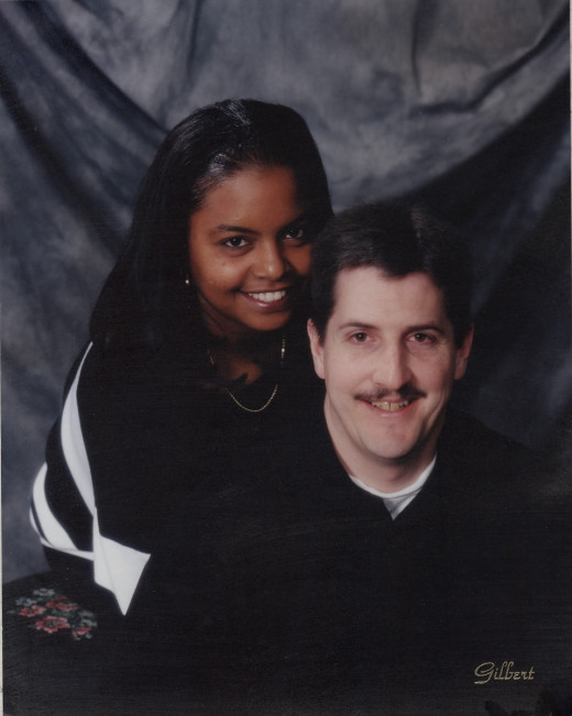 The author and his wife, Amy in 2001--the first time in United States publishing history that a white man and a black woman appeared on a book cover.