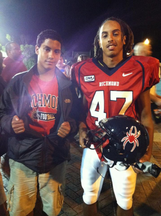 The author's sons after a University of Richmond football game.