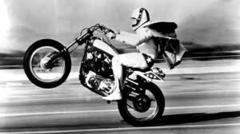 Evel Knievel is a legendary stuntman who has jumped Amon other things: parked cars, 18 wheelers and bodies of war.