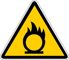 """OXIDIZING:The abbreviation for this symbol is """"E"""" and is associated with Chemicals that react exothermically with other chemicals."""