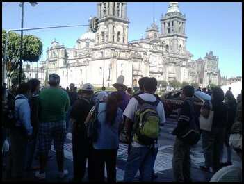In front of the Cathedral, a local man was campaigning against the church.  A few gathered to listen.