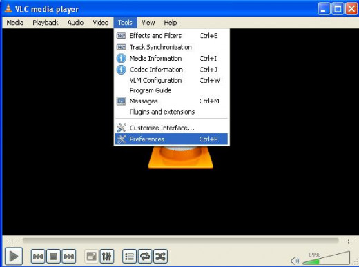 VLC media player main window