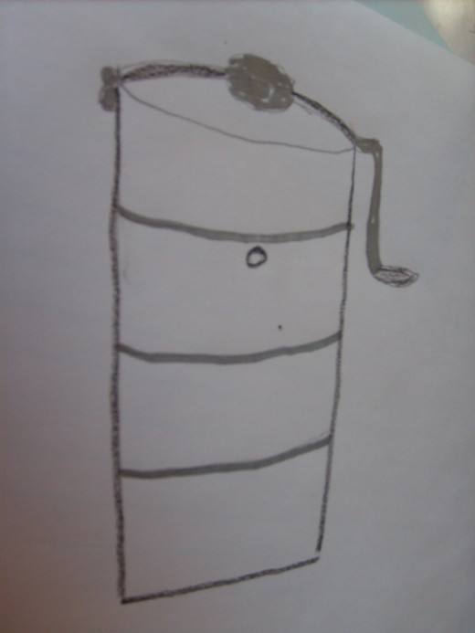 Sketch of a crank freezer and what a sketch it is!