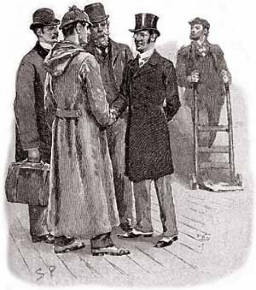 Sherlock Holmes traveling. An early illustration by Sidney Paget.