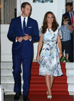 Duchess Kate in floral Erdem dress with Prince William
