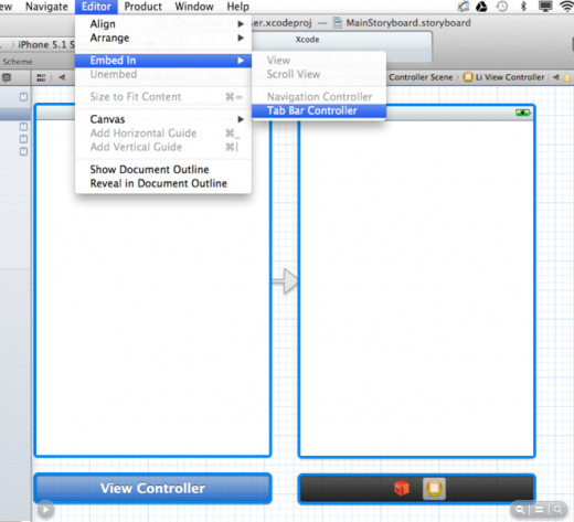 Add Tabbar Navigator Controller in Xcode IDE
