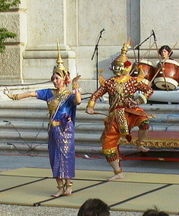 Khmer classical dance often retell ancient Hindu stories such as the story of Ramayana.