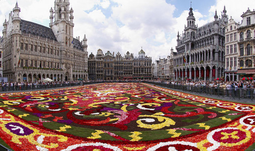 Wouter Hagens took this photograph of the floral carpet on the Grand Place in Brussels, Belgium on August 15, 2008.