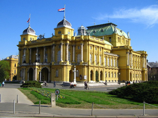 The Croatian National Theater in Zagreb, Croatia was photographed by Lokksi on December 11, 2005.