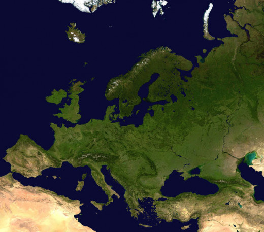 This satellite photograph of Europe is in the public domain because it was solely created by NASA. NASA copyright policy states that NASA material is not protected by copyright unless noted. In the case of this image, no such notation has been made.