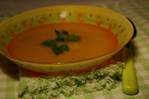 A bowl of warm soup helps curb the appetite