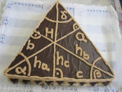 Imagine a cake in the shape of an equilateral triangle as shown in the image below. Each side of the